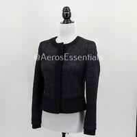 Womens Ann Taylor LOFT Black Tweed Open Front Blazer Jacket Size 2P Petite EUC