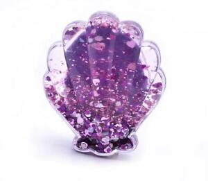 Girls Purple Mermaid Shell Shape Detangler Glitter Hair brush Detangling Brush