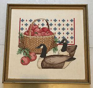 """Vintage Handmade Vintage Framed Needle Point  on Wool Apple Basket And Ducks 14"""""""