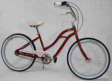 Felt Vivi 3Gang Beachcruiser, bequemes Damen Citybike Lady Cruiser Rot, Candy