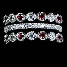 3-RING SET_RUBY RED AND CLEAR CZ ETERNITY BANDS RING_SIZE-10_925 STERLING SILVER