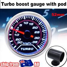 "2"" 52mm Turbo Boost Gauge Mechanical Digital Dial Red Needle W/ Pod Holder Car"