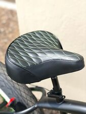 Custom Beach Cruiser Comfortable Bicycle Seat- GREEN STITCHING