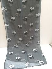 """Scarf with panda design gray 34"""" by 70"""""""