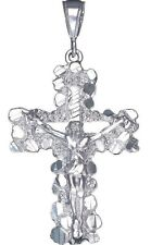 Sterling Silver Nugget Cross with Jesus Pendant Necklace 2.4 Inches 11 Grams