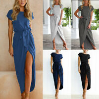 Lady Casual Belted Split O-Neck Maxi Long Dress Summer Beach Party Fashion Dress