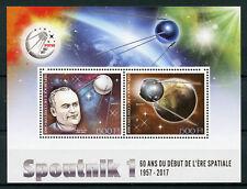 Ivory Coast 2017 MNH Sputnik 1 Launch Sergei Korolev 2v M/S Space Stamps