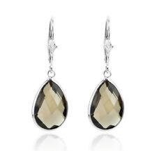 14K White Gold Fancy Cut Pear Shaped Smoky Topaz Dangling Earrings
