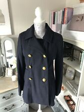 River Island Woollen Navy Military Coat Gold buttons Size 10