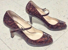 Cole Haan Women's Air Pumps Tortois Patent Leather Peep Toe Heels Shoes Size 8 B