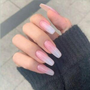 Nude beige Ombre Long square Ballerina False French Press On Nails