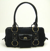 Handbag Shoulder Bag Purse Black Suede Faux Alligator Crocodile Bronze Hardware