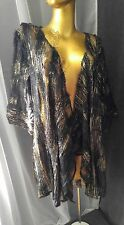PICADILLY Fashions Cardigan Black Gold Mesh Hairy Strip 2X Jacket Top Open Front