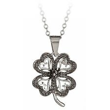 "Sterling Silver Black Diamond Accent Four 4 Leaf Clover Pendant on 18"" Necklace"