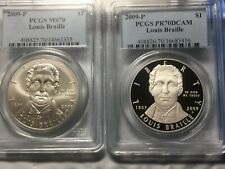 2009 P  Louis Braille Bicentennial  2 Coin Set  PCGS PR70 & MS70