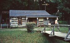1990 COLOR SLIDE 1408 Ohio Findlay Ghost Town Log Cabin Animal Skulls on Porch