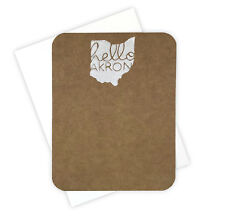 Set of 4 Hello Akron Ohio Hand Block Printed Flat Note Cards Stationery Set