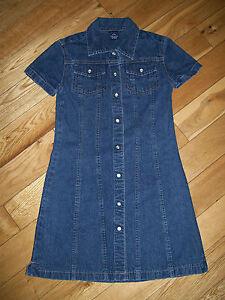 Girl's Gap Blue Denim Cotton Snap Pearl Button Short Sleeve Dress Sz S 5 / 6