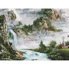Dorf im Flusstal, chinesisches Bild, Stickbild, Stoffbild, Stickerei, Stickkunst