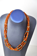 Jay King Multi-Strand Amber Chip Turquoise and Silver Bead Necklace WOW!