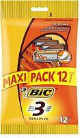 MAXI PACK 12 Bic 3 Sensitive Triple Blade Mens Disposable shaving Razor + Aloe
