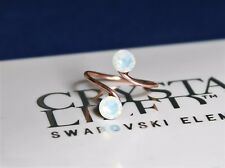 Rose Gold Plated Toe/Knuckle Ring with White Opal Swarovski Crystals Elements