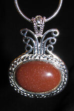 Goldstone copper color stone pendant  & snake chain necklace romance shimmer fun