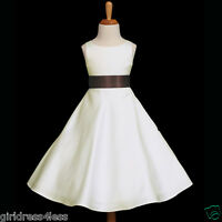 IVORY/BROWN A-LINE BRIDESMAIDS GOWN FLOWER GIRL DRESS 12-18M 2 4 6 8 10 12 14 16