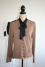 Isabel de Pedro Cardigan Top Brown Black Pussy Bow High Collar 12 14 RRP199 M