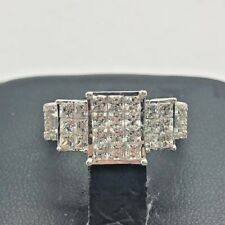 Sterling Silver 925 Oxidized Triple CZ Rectangular Cluster Link Cocktail Ring 7