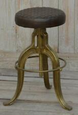 Industrial Style Iron Stool - Leather Seat - Adjustable Height - Brass Finish