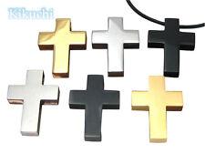 Herren Anhänger Kreuz klassisch Stark Edelstahl matt poliert silber gold schwarz