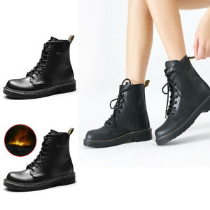 New Womens Lace Up Combat Boot Shoes Ankle Boots Warm Short Booties Ankle