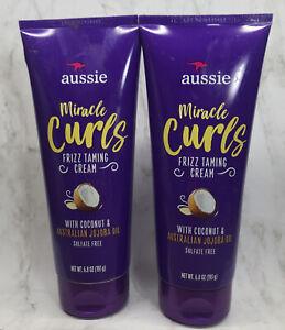 2 Aussie Miracle Curls Frizz Taming Cream W Coconut & Jojoba Oil ~ 6.8 oz X 2 ~