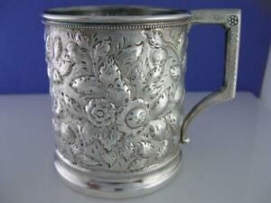 Early Coin Silver Cup / Mug w/ floral Repousse c1800's