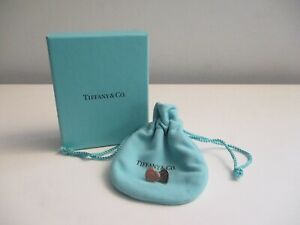Return to Tiffany & Co. Sterling Silver Heart Tag Stud Earrings w/Pouch and Box