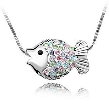 18K Gold GP SWAROVSKI Element Crystal Fairy Fish Pendant Necklace White