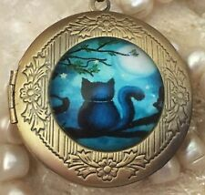 Cat In Blue Moon Locket Pendant Necklace. Round Bronze & Glass Cabochon Locket