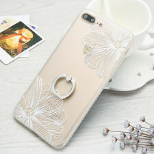 Emboss Lace Flower Hard Protective Case With Ring Holder for iPhone 6 6s 7 Plus