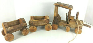 Wood Train Set ~ Vintage ~ Handmade ~ Wooden ~ Rustic Decor