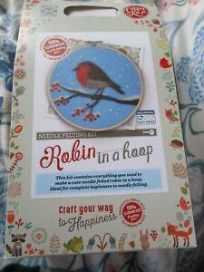 Crafty kit company; robin in a hoop needle felting kit