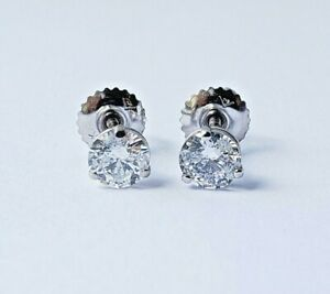 0.92ctw Natural Diamonds Studs Earrings D Color I1 Clarity GIA ( Watch Video )