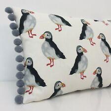 Puffin Bolster Cushion Cover Seaside Beach Fabric Black White & Grey pom pom
