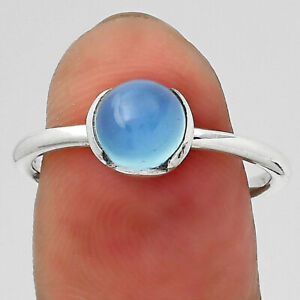 Natural Blue Chalcedony 925 Sterling Silver Ring s.8 Jewelry E849