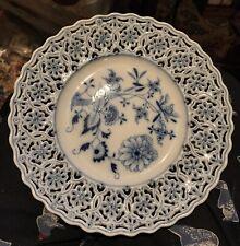 "Meissen Reticulated 9"" Onion Design Blue & White Plate DR Widera & Company"