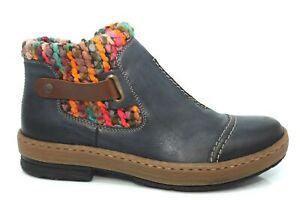 Rieker Womens Comfort Wide Fit Shoe Winter Chelsea Zip Ankle Boots Size 3-8