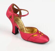 MIU MIU Pink Fuchsia Satin D'ORSAY 1920s 1940s Mary Jane Heels Pumps Shoes 36.5