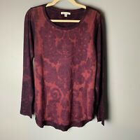 ORVIS Women's Top Size Large Long Sleeves Shirt Maroon Purple Soft Casual