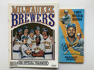1981 Combo deal Milwaukee Brewers Yearbook & Media Guide Signed by Cecil Cooper.
