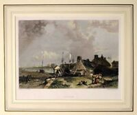 1836 ANTIQUE PRINT - MOUNTED - BLYTHE NORTHUMBERLAND - HAND COLOURED DETAIL